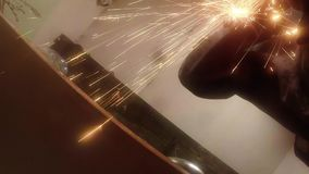 Angle Grinder strike sparks in the dark stock video footage