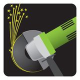 Angle grinder tool at work with sparks. From the disk, illustration, green on black background vector illustration