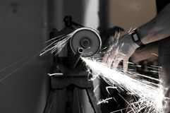 Angle grinder in use Royalty Free Stock Image