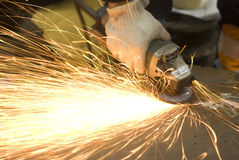 Angle grinder in use Royalty Free Stock Photography