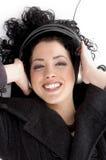 angle headphone high view wearing woman Στοκ εικόνα με δικαίωμα ελεύθερης χρήσης