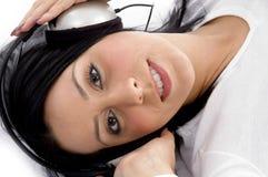 angle headset high view wearing woman Στοκ φωτογραφία με δικαίωμα ελεύθερης χρήσης