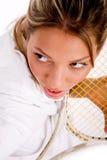 angle high holding player racket tennis view Στοκ Εικόνες