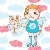 Angle kid cat cute heaven seamless pattern Royalty Free Stock Photography