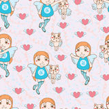 Angle kid cat cute set seamless pattern Stock Photo