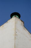 The angle of the light cream walls of the old house with a tin turret finial duct ventilation light green color Stock Photo
