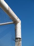 Angle of a soccer goal. And blue sky Royalty Free Stock Photos