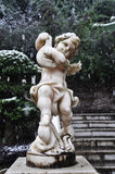 Angle Statue in Snowy Winter Royalty Free Stock Images