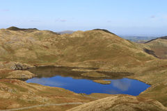 Angle tarn and Angletarn pikes, Lake District. View north across Angle tarn to Angletarn Pikes (hills) in the English Lake district, Cumbria, England Stock Image