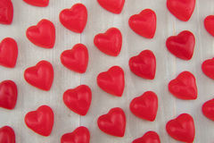 Angle Tight View Lines of Gummy Hearts Stock Photo