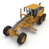 Angle from up Modern three-axle road grader isolated on a white. 3D illustration Stock Image
