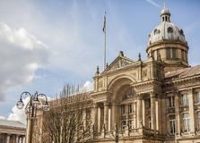 BIRMINGHAM, UK - March 2018 Angle View of Birmingham City Council House. Intricate Artistic Design of Pillars, Columns. Angle View of Birmingham City Council stock photos