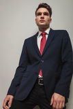 Angle view of a handsome young business man posing Stock Image