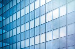 Angle view of modern skyscraper business district in day light. Blue Skyscraper facade, office buildings. Modern glass Stock Photo