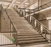 Stairs at a metro railway Station - Berlin Hauptbahnhof, U55. Angle view of a modern staircase in the subway station u55 in Berlin Stock Photography