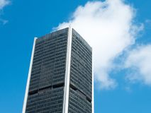Angle view of Montreal stock exchange building with a blue sky in background Royalty Free Stock Photo
