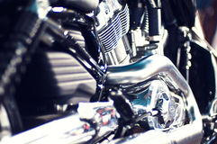 Angle view of a motorcycle engine Stock Photography