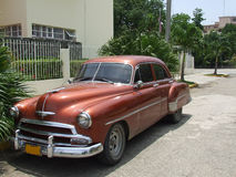Angle view of an old american car. Stopped in a road in Havana, Cuba Stock Images