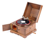 Angle view of old wooden gramophone against white background Stock Images