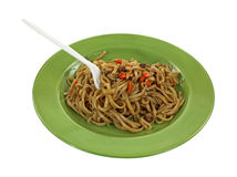 Teriyaki Noodles Fork Green Plate Royalty Free Stock Image