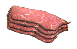 Pastrami Slices Stacked. An angle view of a stack of pastrami slices Royalty Free Stock Image
