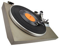 Angle view of vintage turntable isolated with clipping path Stock Photography
