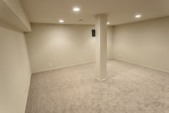 Angled Basement Interior. The interior of a sprawling basement rebuild Royalty Free Stock Photos