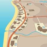 Angled beachfront. Editable vector illustration of an angled generic map of exclusive beachfront homes stock illustration
