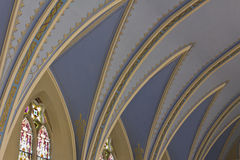 Angled Blue Flying Buttress. In a Catholic Church royalty free stock image