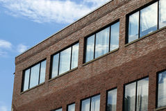 Angled brick building. Brick flat roofed office building in harvard square cambridge massachusetts Royalty Free Stock Photography