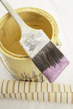Angled Brush On Paint Can Royalty Free Stock Photos