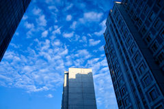 Angled business skyscraper. Over abstract clouds Stock Photos