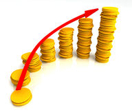 Angled Coin Stacks Shows Increasing Profit Stock Photo