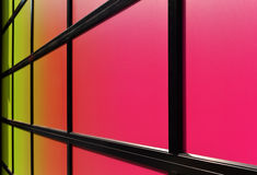 Angled colorful garage door surface. In Soho, Manhattan stock photo