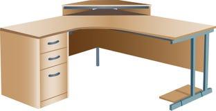 Angled corner office desk Stock Photos
