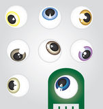 Angled Eyeballs. Eyeballs in facing in different directions at an angle all in different colors and styles Royalty Free Stock Images