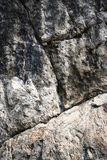 Angled groove on limestone rock Royalty Free Stock Images