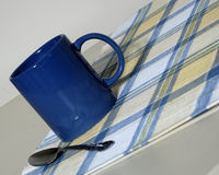 Angled Mug Shot. An angled closeup shot of a blue coffee mug Stock Photos
