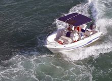 Angled Overhead View of a Small  Fishing Boat Royalty Free Stock Photo
