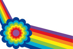 Angled Rainbow with Flower. On White Background Stock Images