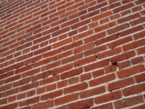 Angled Red Brick Wall Background Stock Photos