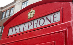Angled Red Telephone Booth Sign Royalty Free Stock Photography