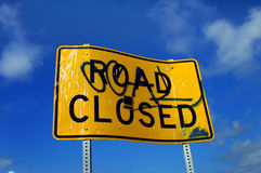 Angled Road Closed Stock Image