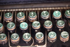 Angled shot of keys on an antique typewriter. royalty free stock image