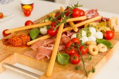 Angled shot of tapas board. royalty free stock photos