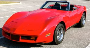Corvette Antique Red Side View Stock Photo