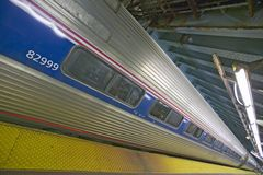 Angled view of Amtrak train in Penn Station, New York City, Manhattan, New York Royalty Free Stock Images