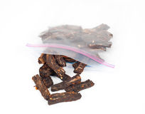Angled View of a Bag of Homemade Beef Jerky Stock Photo