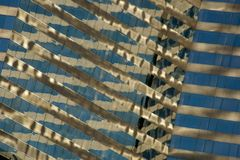 Angled view of close-up of skyscraper reflections Royalty Free Stock Photos