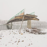 Angled View of a Damaged Bridge Stock Images